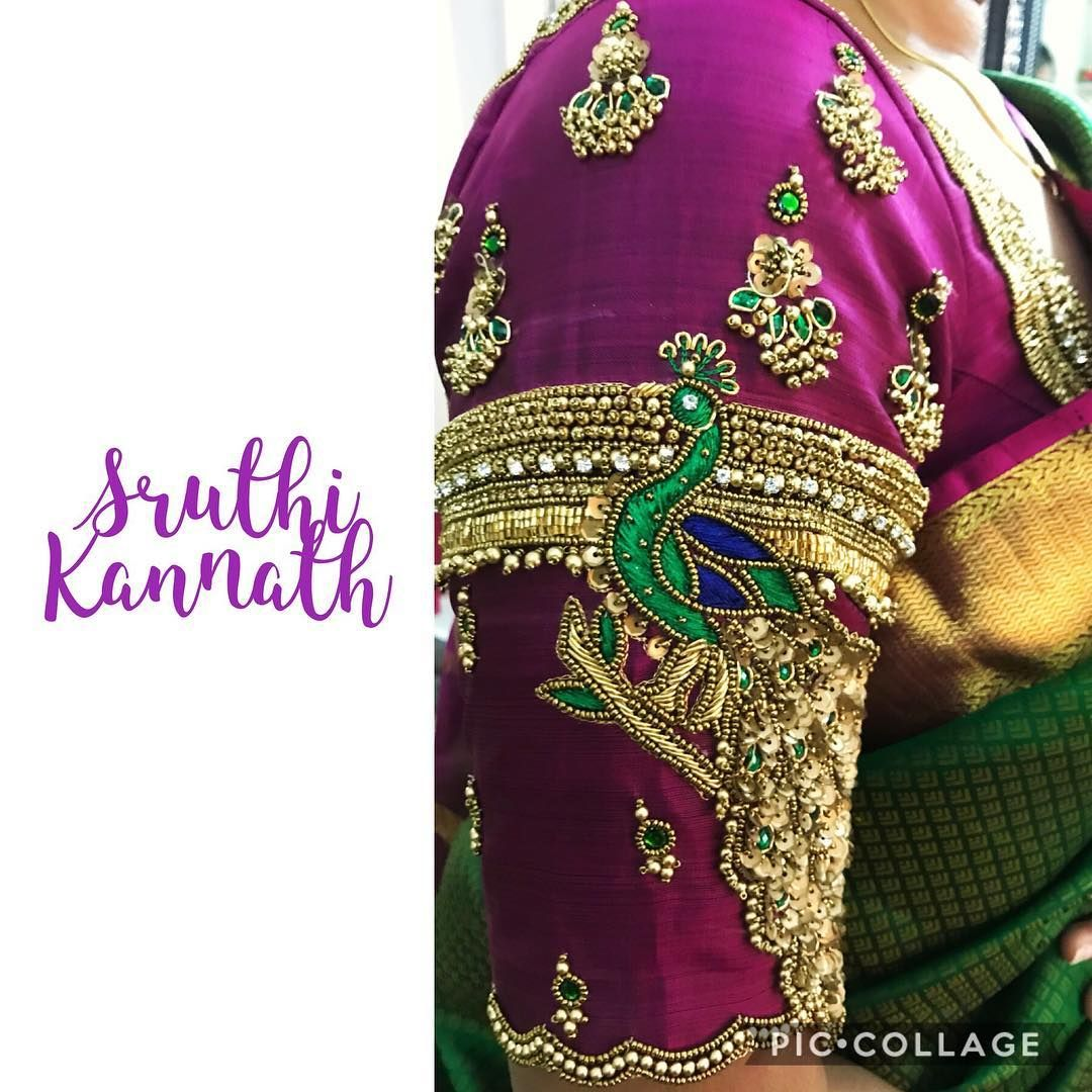 f1a36561f4838 Beautiful purple color designer blouse with peacock design hand embroidery  bead and guttapusalu work on sleeve. 01 May 2018