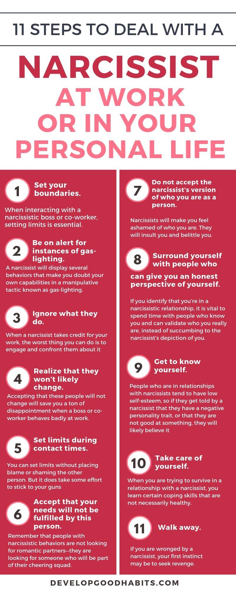 How To Deal With A Narcissist At Work Or Elsewhere Dealing With A Narcissist Narcissistic Behavior Narcissistic Boss