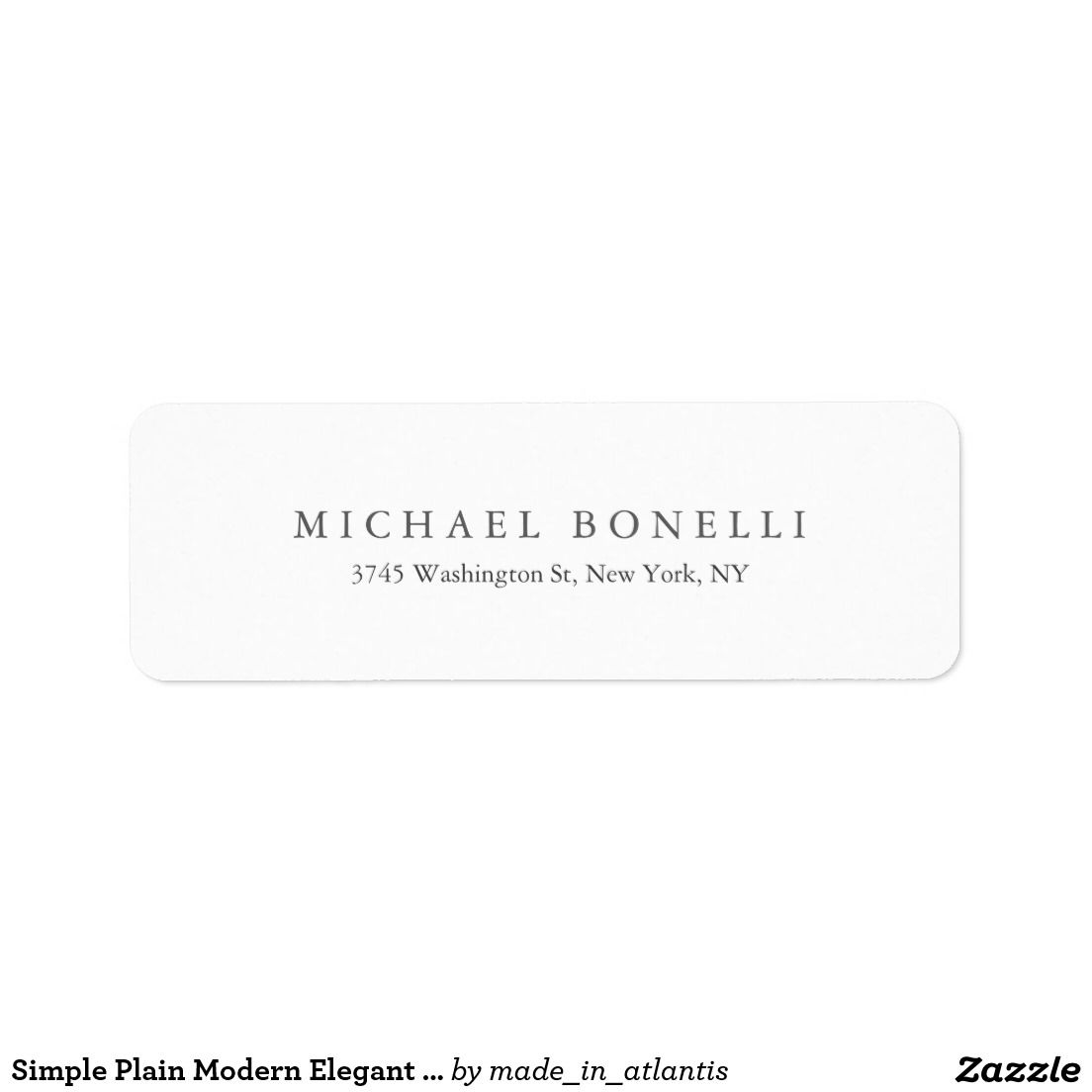 Plain Modern Elegant Return Address Label