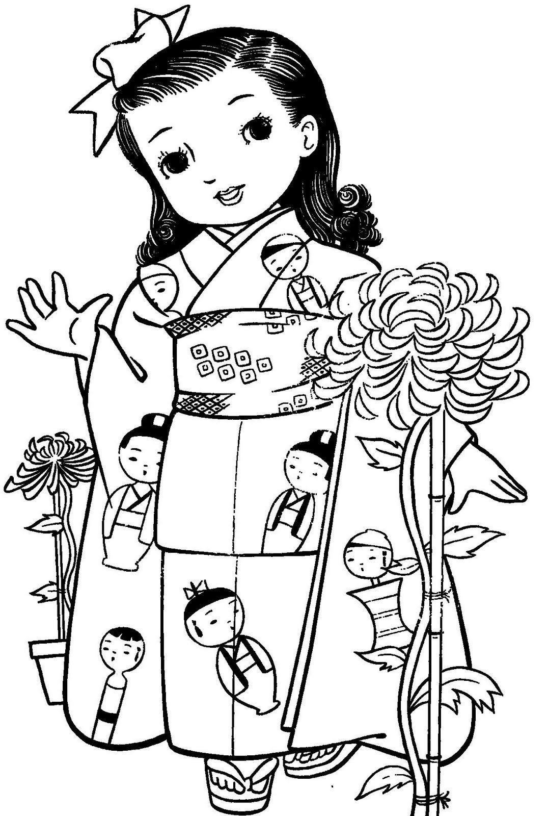 Maravilhosas Meninas Japonesas Com Kimonos Para Colorir Com