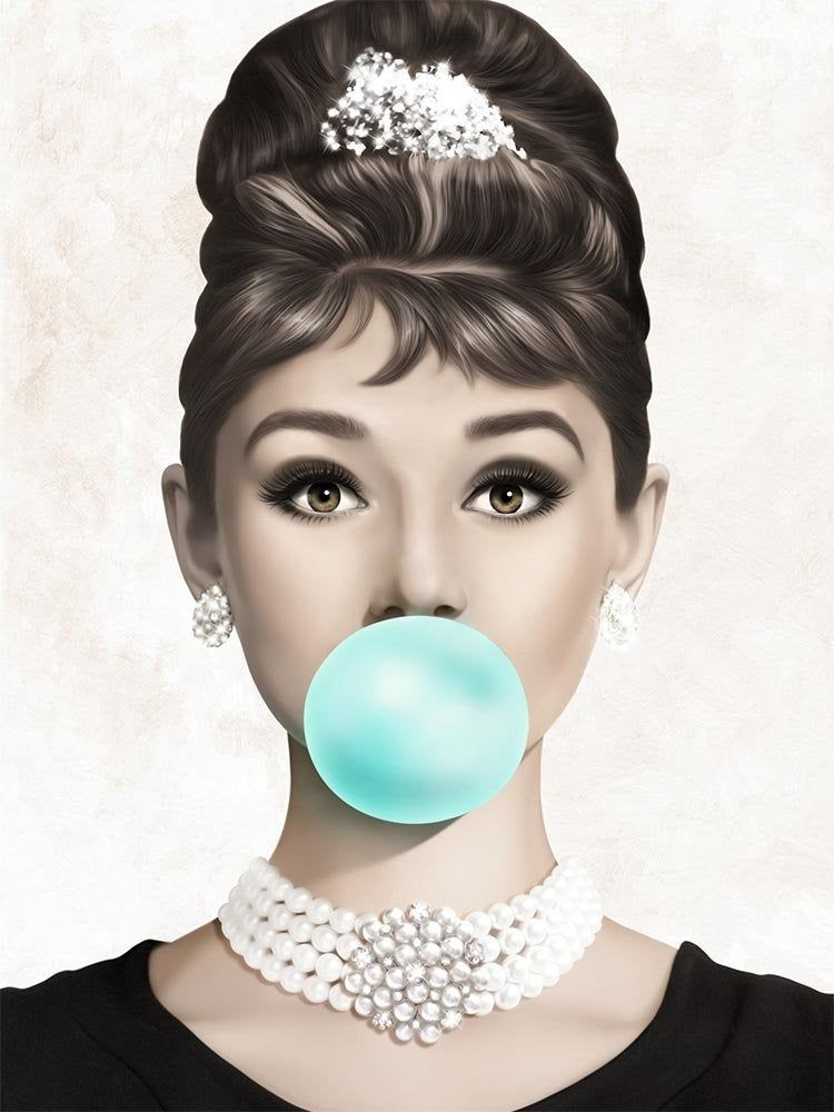 Audrey Hepburn Teal Bubble Gum Printable Poster, Vogue Print, Bubblegum Wall Art