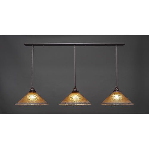 "@>  Toltec 3 Light Multi Light Pendant with Hang Straight Swivels in Dark Granite with 16"" Amber Crystal Glass"