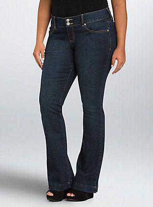 98ff9b325808 Plus Size Torrid Flared Jeans - Dark Wash (Tall)