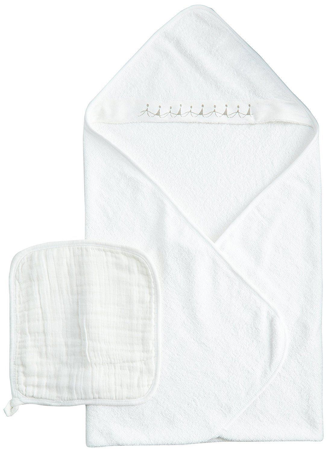 Aden Anais 100 Percent Cotton Muslin Hooded Towel And Washcloth Water Baby White 1 Pack