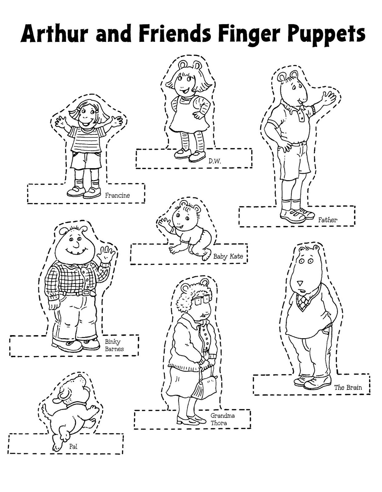 mostly paper dolls too arthur and friends finger puppets