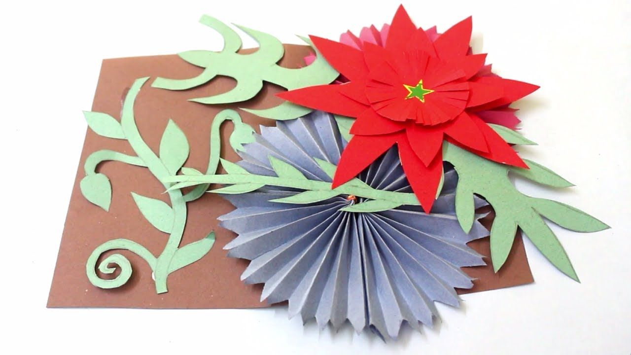 Awesome Paper Card Easy Card With Flower Paper Flower Making