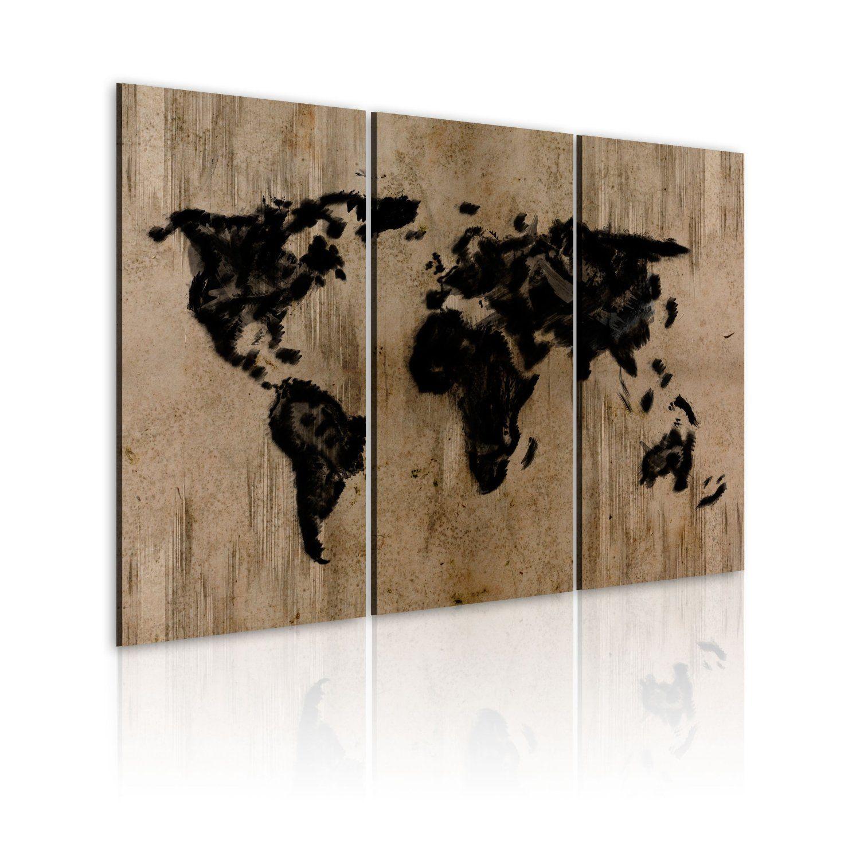 Xxl Format Bilder Xxl Fertig Aufgespannt Top Vlies Leinwand 3 Teilig Weltkarte Wand Bilder 020113 72 120x80 Cm B D Xxl Riesen Bilder Ku World Map Mystery World