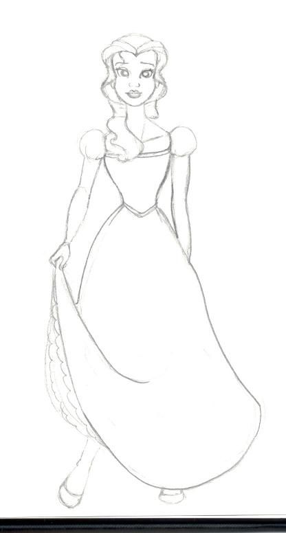 Just A Very Quick Sketch I Did Whilst Watching My Favourite Disney Movie Beauty And The Beast Its Belle In Pretty Green Dress
