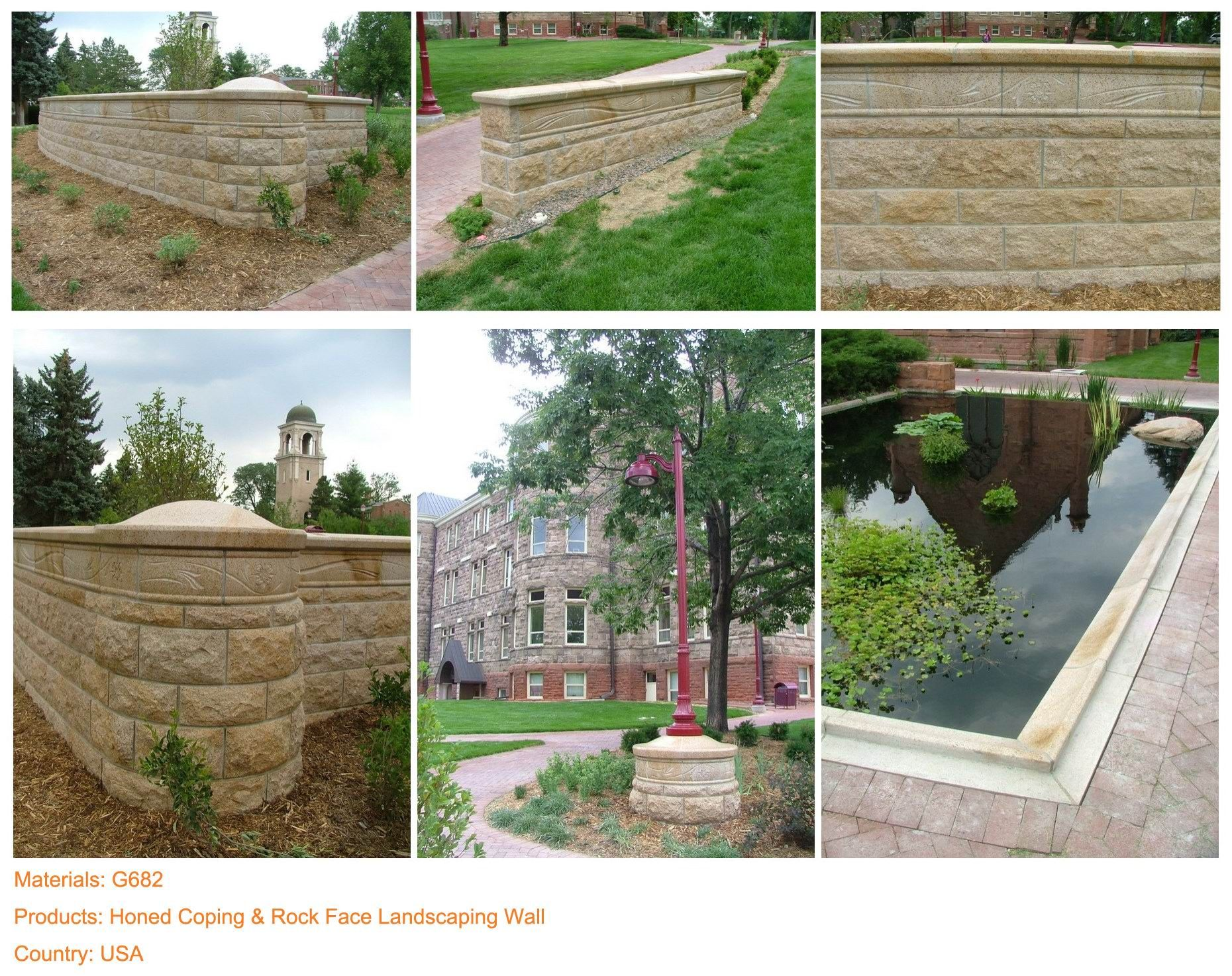 Project materials g products honed coping u rock face