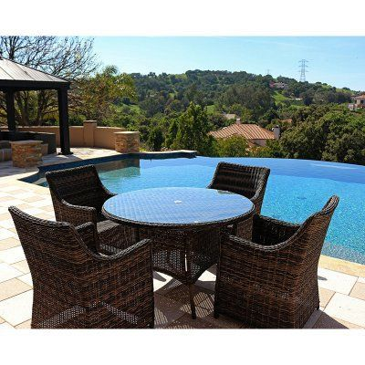 Outdoor Kinger Joypanda Rattan Wicker 5 Piece Patio Dining Set with Cushions - KGLET-0100