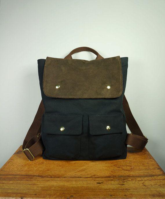 56984bb1cc City Backpack in Black Twill  Backpack  Men  Laptop Bag  Brown Suede   Handmade in New York  Messenger