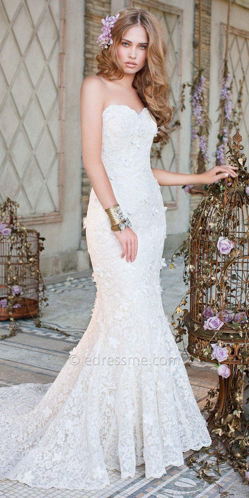 Strapless Lace Trumpet Wedding Dresses by Camille La Vie-image