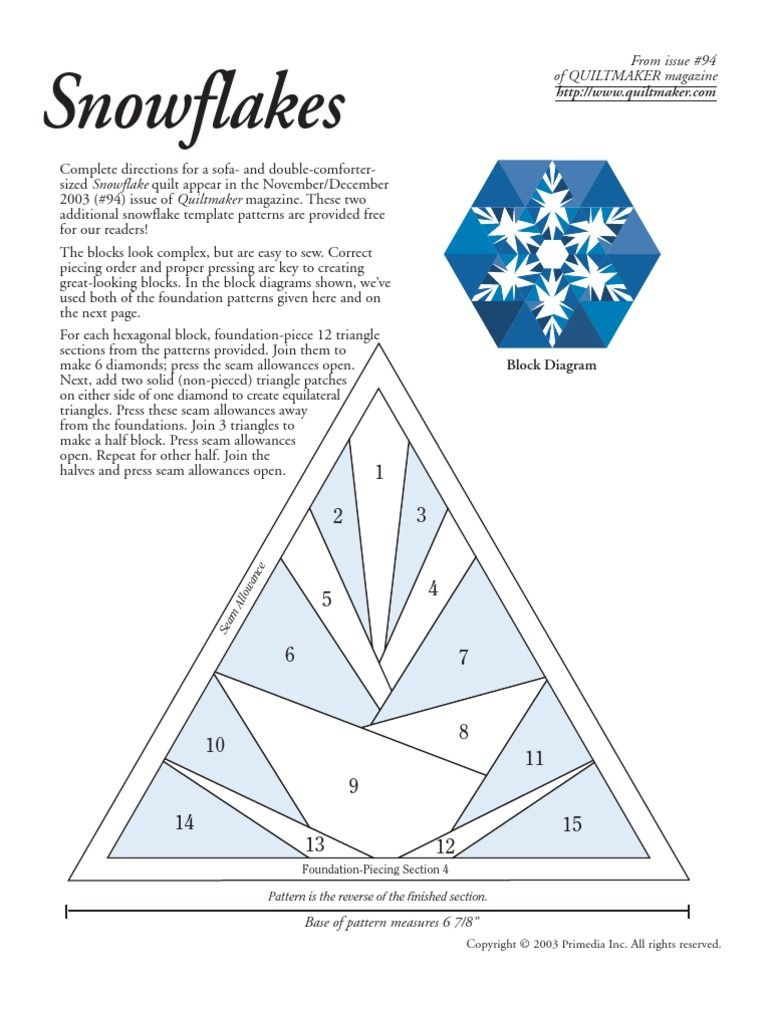 Patchwork - Quilting Snowflakes | Quilting | Textile Arts | Kostenlose 30-Tage-Testversion | Scribd
