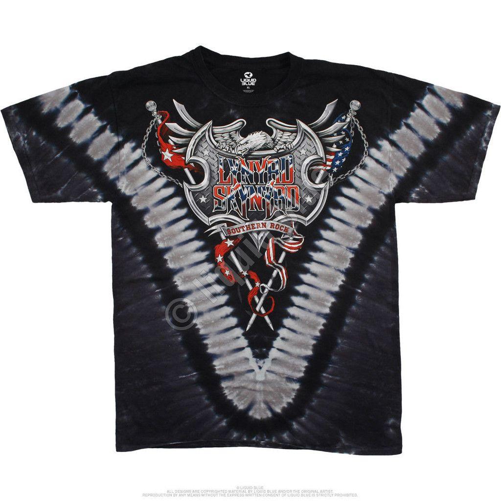 17430fb267f979 Liquid Blue - LYNYRD SKYNYRD ROCK SHIELD - Short Sleeve Tie Dyed T-Shirt .