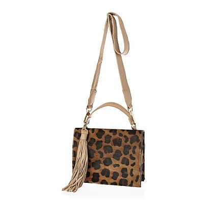 Bag Brown Leather Leopard Print