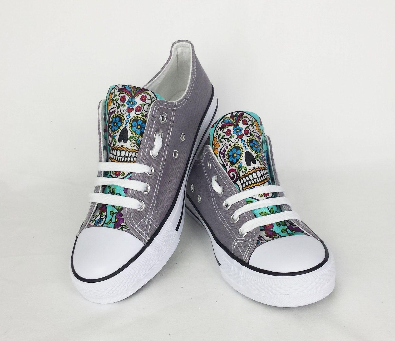 Sugar skull shoes, grey blue candy skull pumps, bling pumps, custom skull  shoes