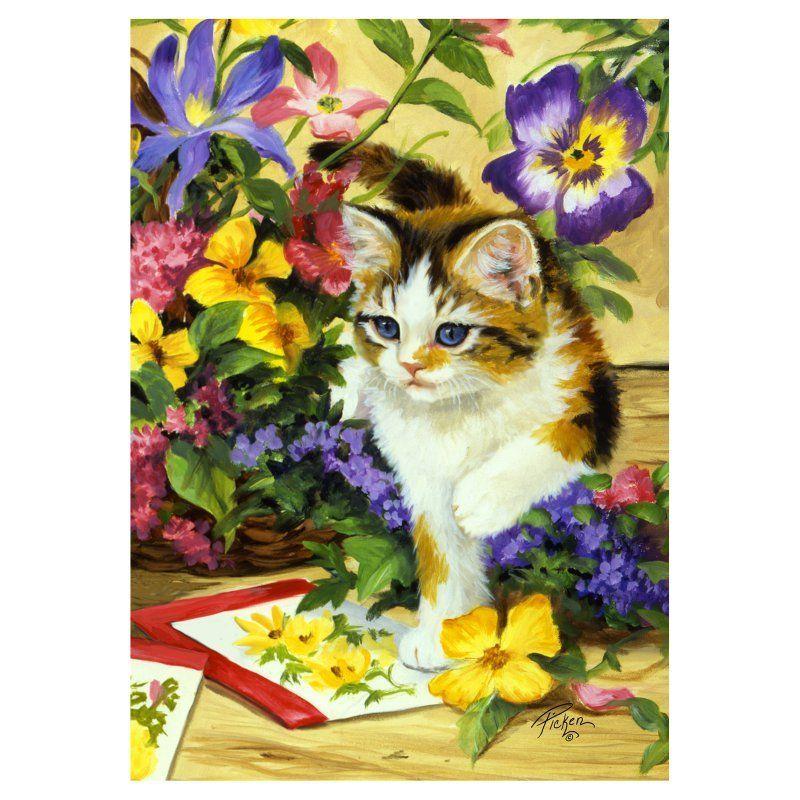 Toland Home Garden Flower Kitty Flag - 112100