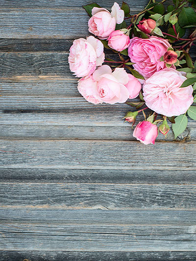 Kate Wooden Photography BackdropsGrey Wooden With Flowers
