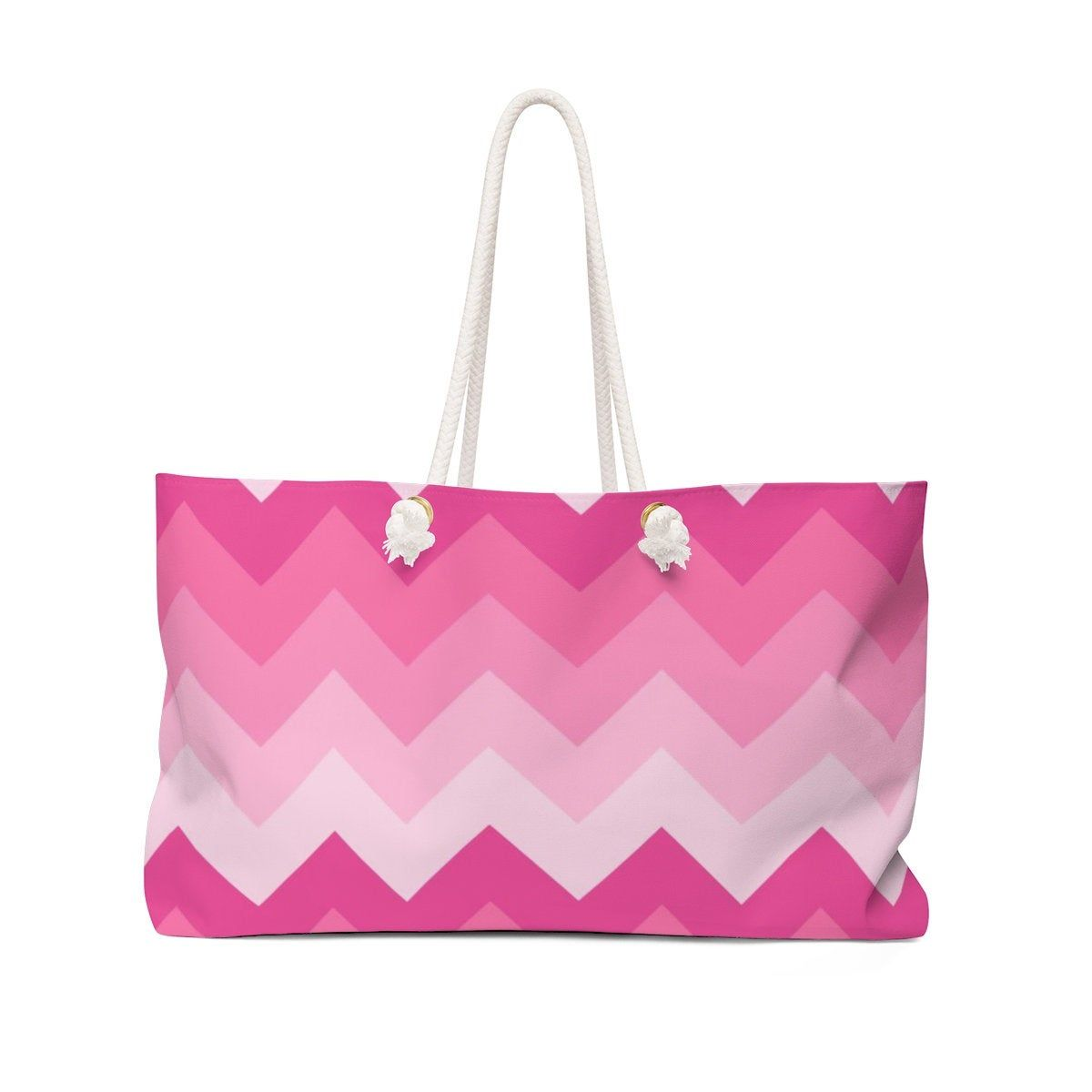Womens Weekender Bag Hot Pink Chevron Ombre Fade Tote Girls Beach