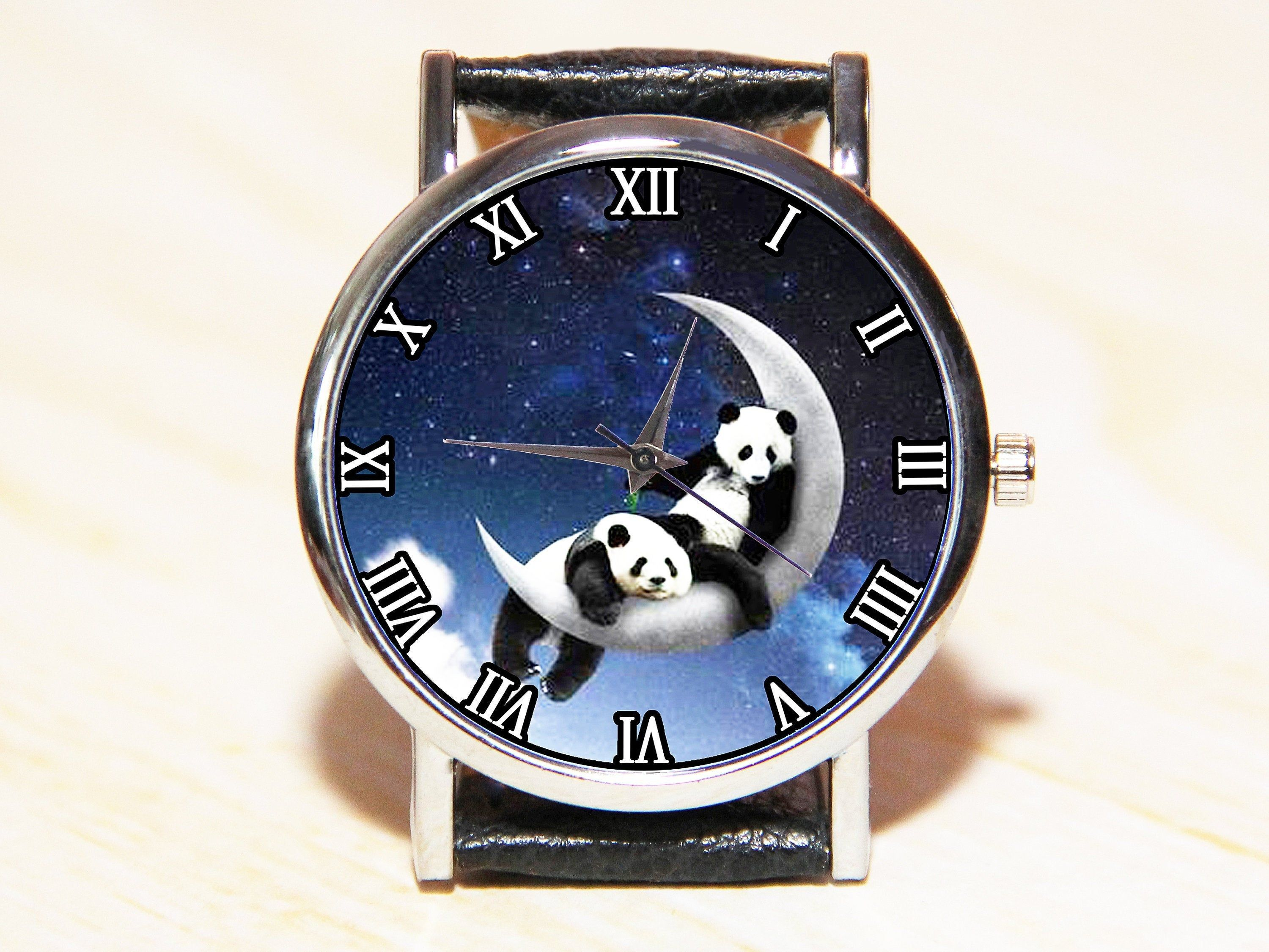 Mens Watches Christmas 2020 Watch pandas on the moon, panda watch, moon watches, constellation