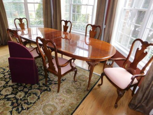 Thomasville Queenanne Table Cherry Diningroom 6 Chairs Set