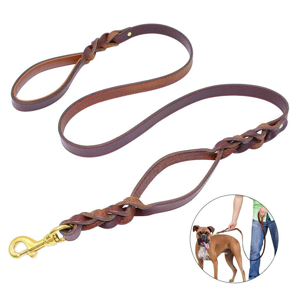 Pet Artist Braided Leather Dog Leash Double Traffic Handle 5ft