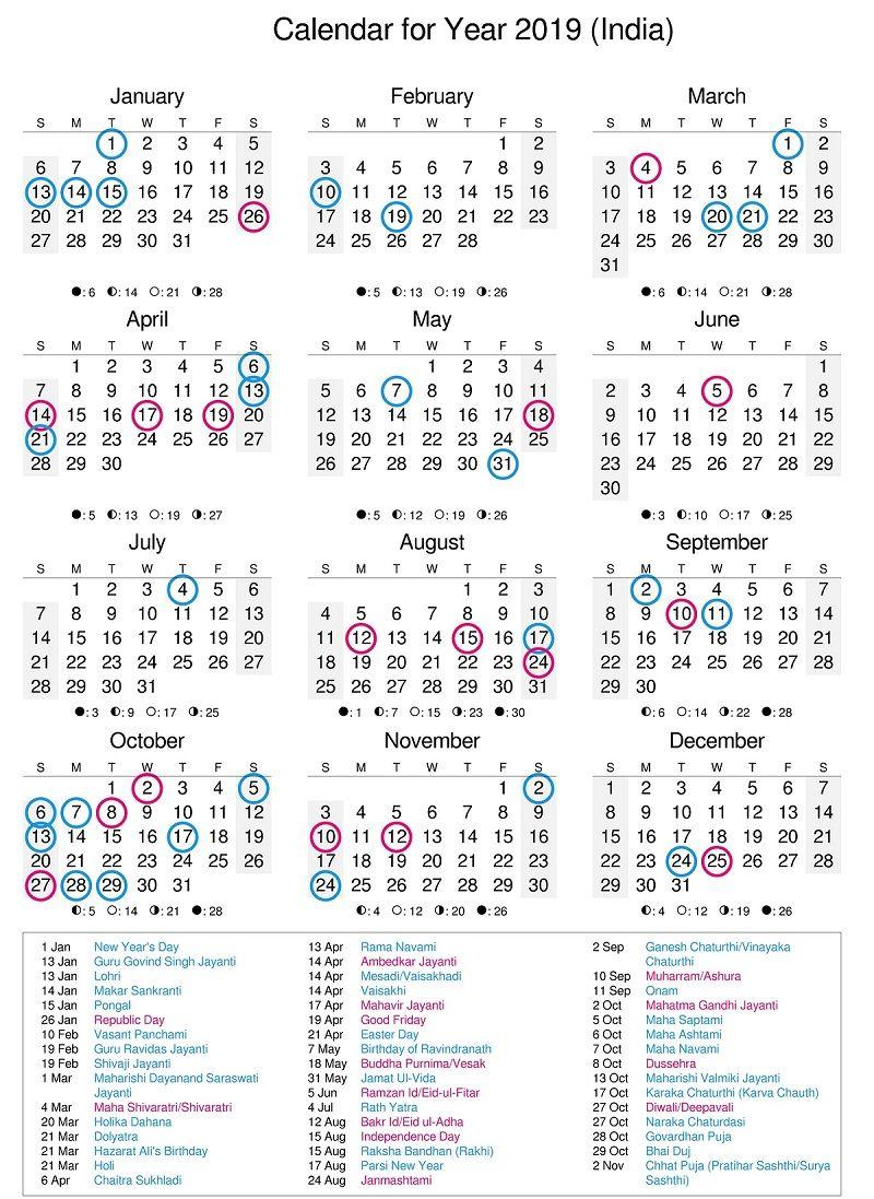 Calendar 2014 And 2019 Printable Lunar Calendar 2019 India | Calendar 2019 | 2015 calendar