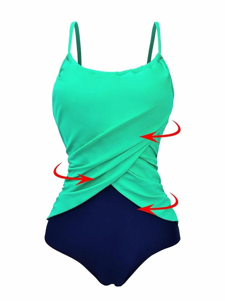 56335ff1599 Zando Color Splicing One Piece Swimsuit Plus SZ Bathing Suits Frilly Vintage   fashion  clothing  shoes  accessories  womensclothing  swimwear