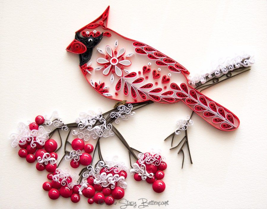 Quilled Northern Cardinal - by: Stacy Bettencourt-Mainely Quilling                                                                                                                                                     More