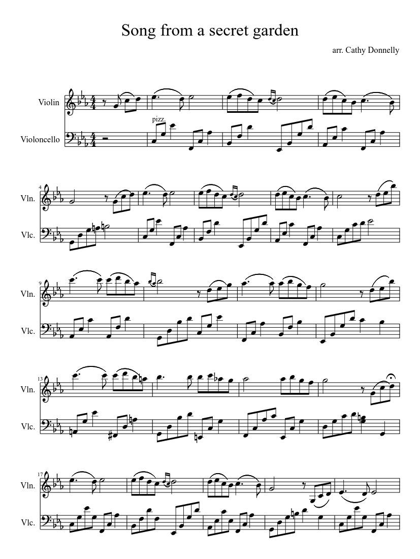 Print And Download Song From A Secret Garden Arr Cathy Donnelly