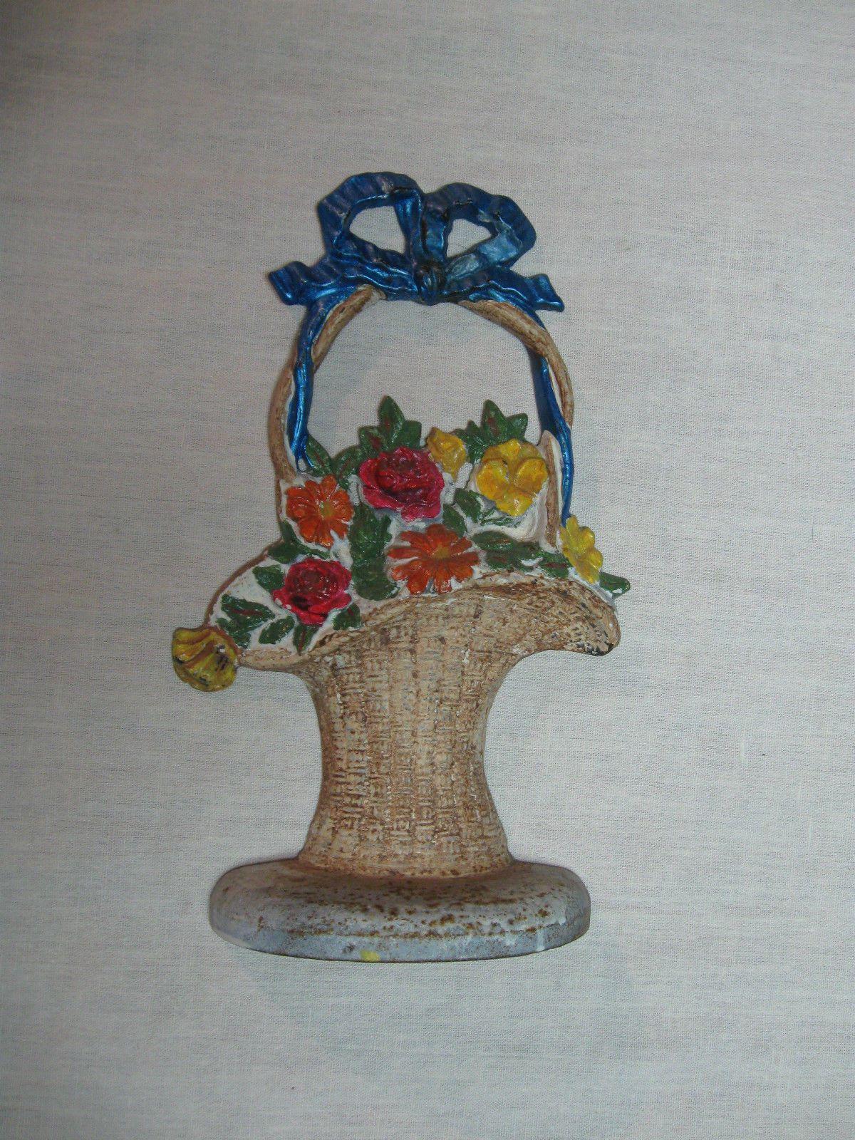 Vintage Flower Basket Cast Iron Door Stop | eBay & Vintage Flower Basket Cast Iron Door Stop | eBay | Doorstops ...