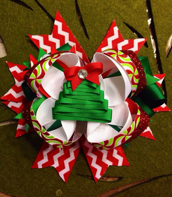 The Oh Christmas Tree Stacked Hair Bow by CourtneyLoveBoutique, $15.00
