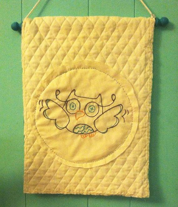 Little Owl Embroidered / Quilted Banner by TheWoodsyOwlShop