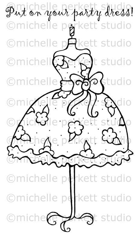 digital stamp image dress flowers bows girly pretty dressform cardmaking scrapbooking stamping - Girly Pictures To Colour In