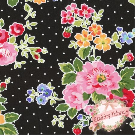 """Pam Kitty Love 12064-Black by Pam Vieira-McGinnis for Lakehouse Dry Goods: Pam Kitty Love by Pam Vieira-McGinnis for Lakehouse Dry Goods. 100% cotton, 44""""/45"""" wide. This fabric features floral bouquets on a black background with white pindots."""