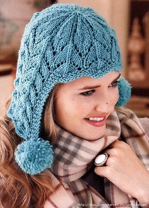 бирюзовая шапка спицами схема