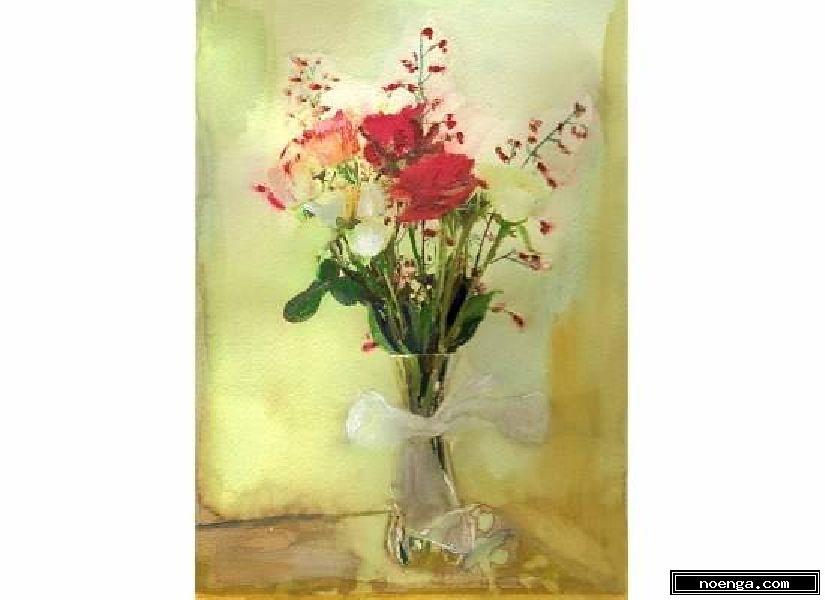 noenga.com :(c) ecarroll3 (UNITED STATES) :: flowers 6 :: Bodegón : Impresionista : Pintura : Acuarela :