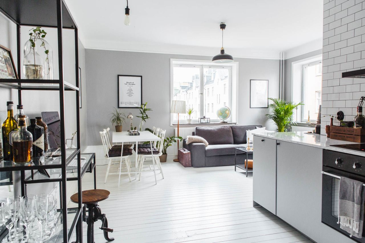 White & grey living room and kitchen