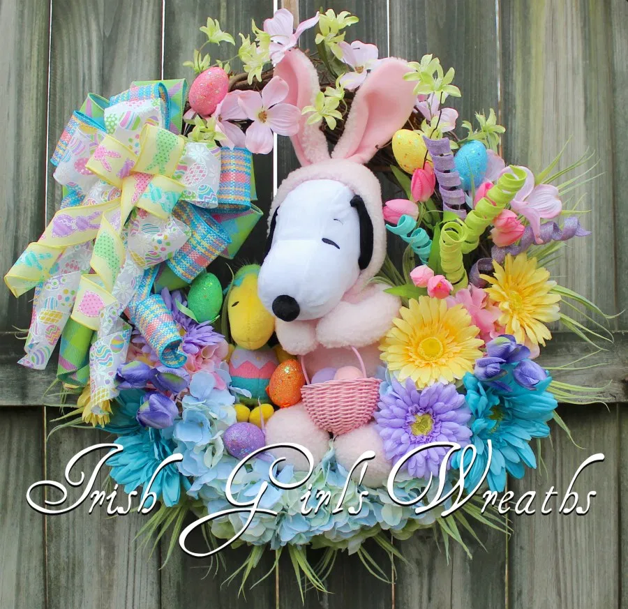 Photo of Peanuts Easter Beagle Wreath, Snoopy and Woodstock Easter Wreath, Pink Bunny Snoopy Easter Floral Turquoise