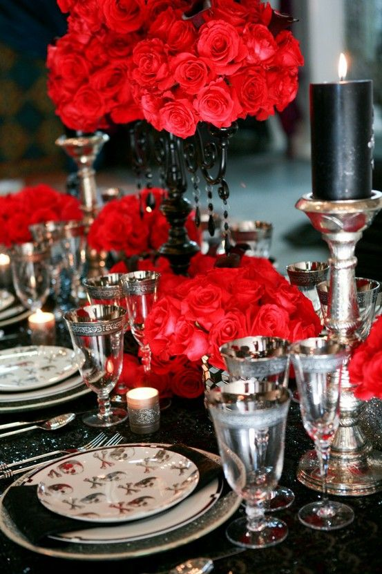 red black table setting gothic victorian