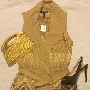 I just discovered this while shopping on Poshmark: Ralph Lauren Aztec sweater vest sz S. Tag still on. Check it out! Price: $50 Size: S