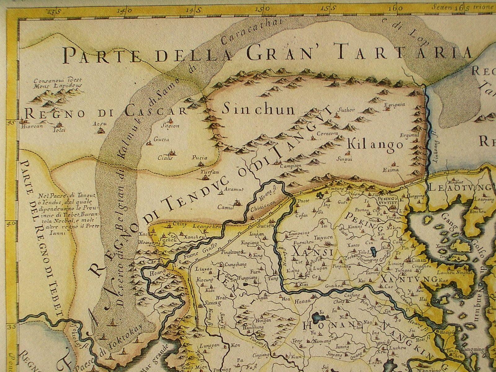 Villes le long de la route du nord le long de Taklmakan, probablement basé sur l'itinéraire de Bento de Gois, de Hiarcan à Cialis et Sucieu, dans le Gansu