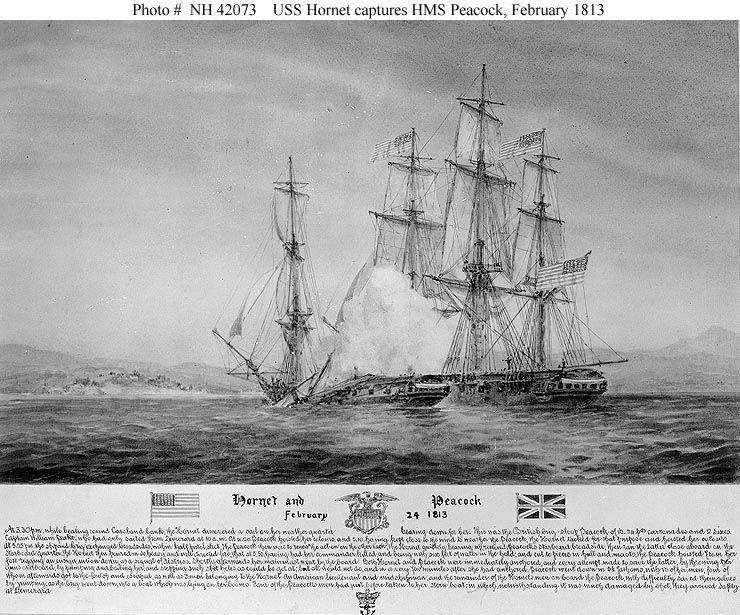 Hms Peacock Feb 24 1813 Sloop Of War War Of 1812 Uss Hornet