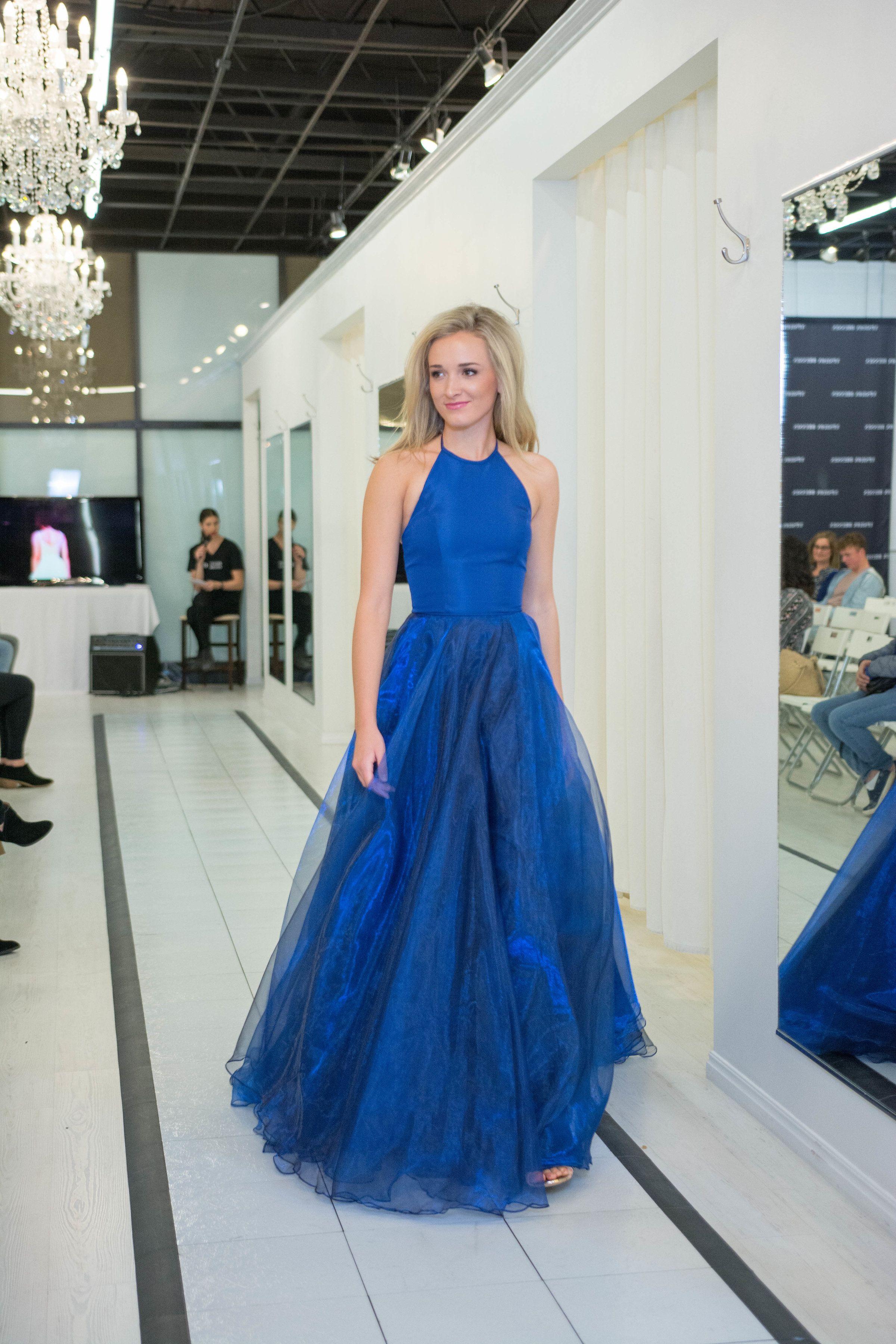 Royal blue sherri hill tulle skirt ballgown iridescent skirt high