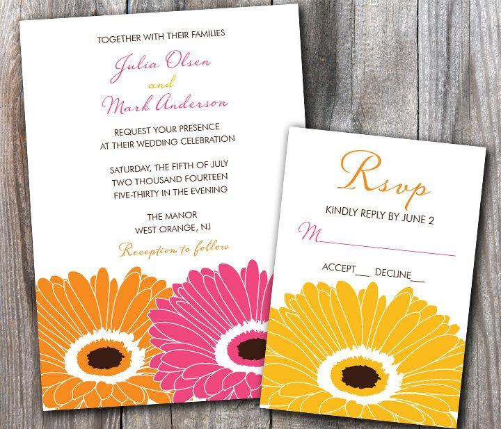 Sweet Gerbera Daisy Wedding Invitation Sample Set By Designsbyadj Daisy Wedding Invitations Wedding Invitation Samples Gerbera Daisy Wedding