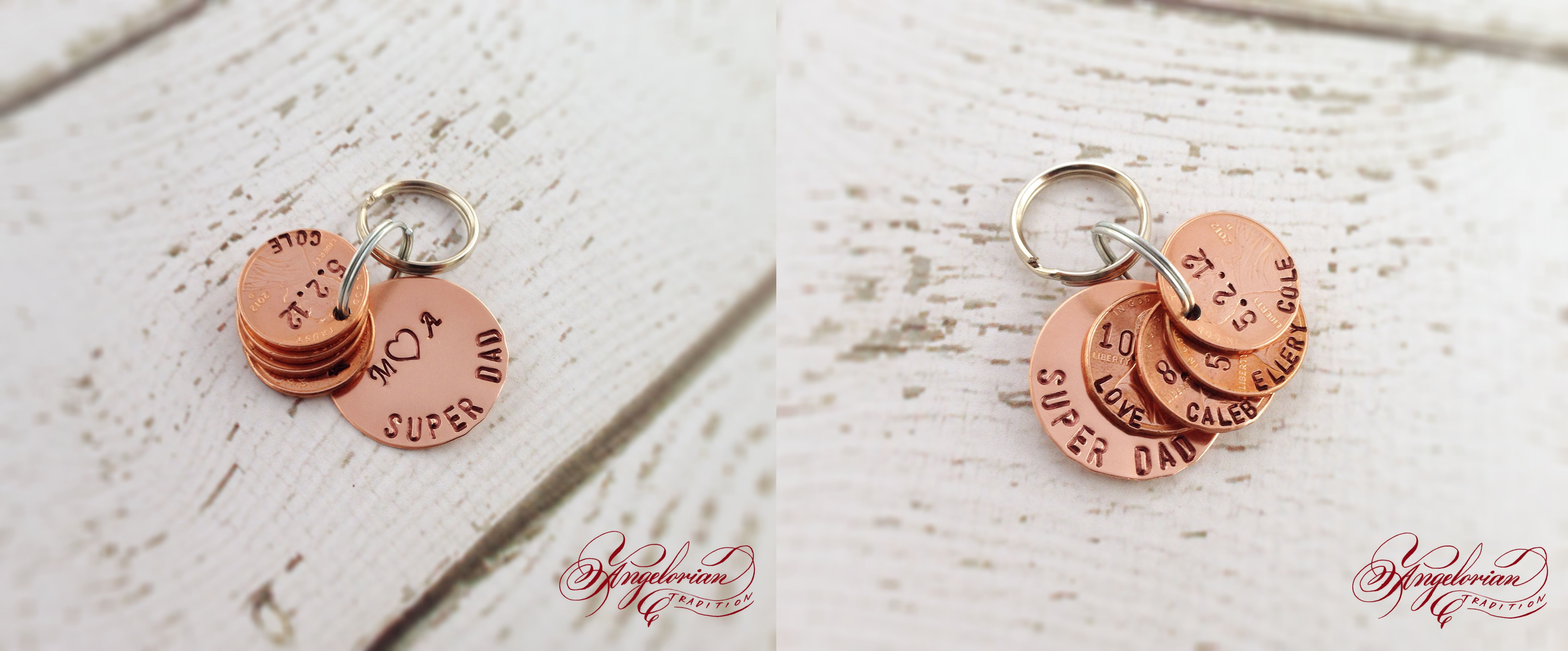 Super Dad Keychain! Date pennies custom made for each special child♥ #Dad #Gift