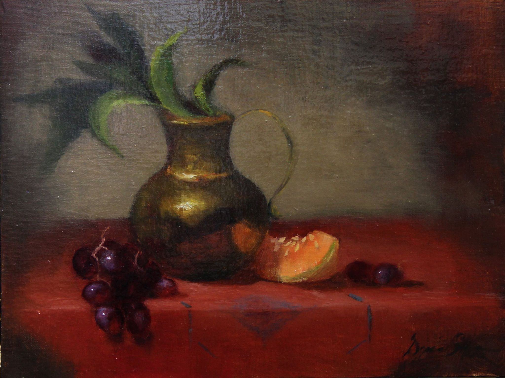 Brass pot and fruit x red door gallery diana shearon art