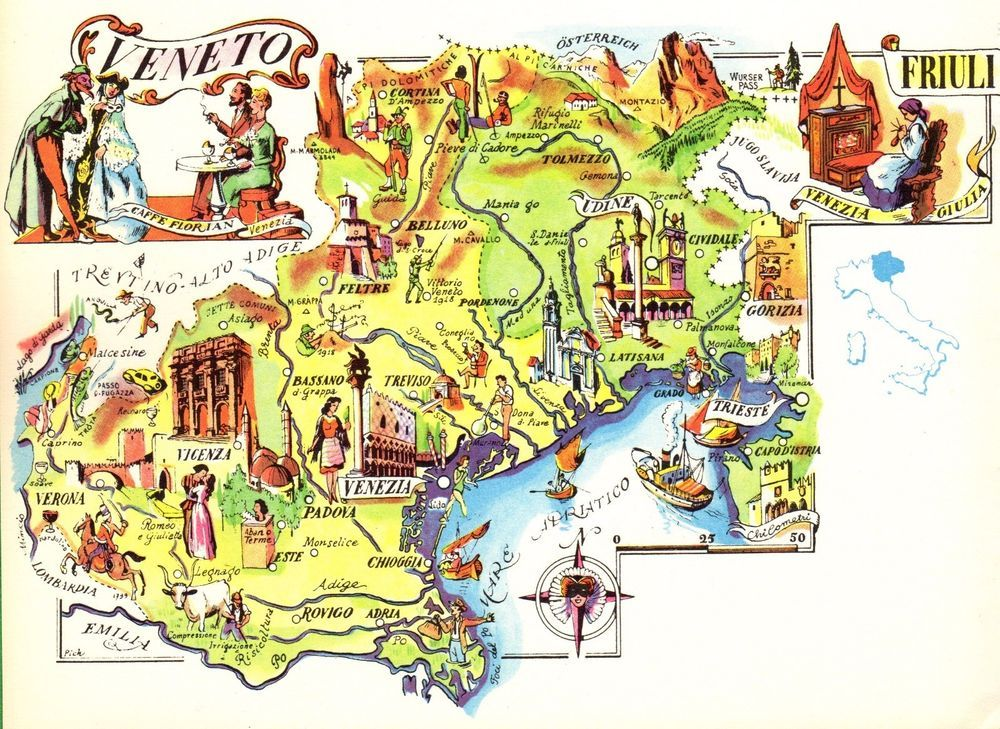 Vintage Veneto Italy Map Picture Map Of Italy Artistic Pictorial Map