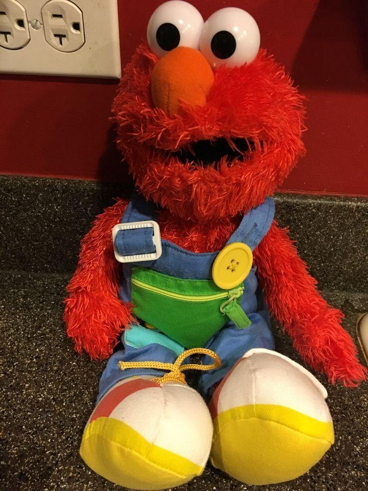 Gund Sesame Street Teach Me Elmo Stuffed Animal Learn to tie snap button and zip #GUND