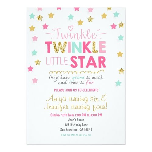 Twinkle little star twins birthday invite joint twins birthday twinkle little star twins birthday invite joint twins birthday party pinterest twin birthday twins and birthdays stopboris Image collections